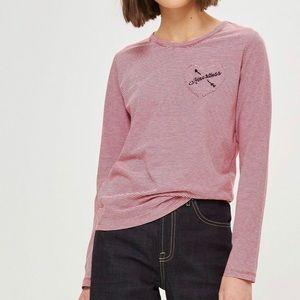 Topshop Heartless Striped Long Sleeve Shirt Size 8